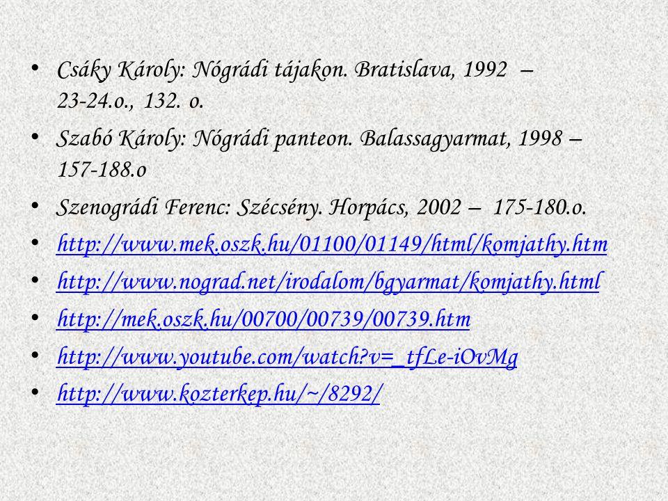 Csáky Károly: Nógrádi tájakon. Bratislava, 1992 – 23-24.o., 132. o. Szabó Károly: Nógrádi panteon. Balassagyarmat, 1998 – 157-188.o Szenográdi Ferenc: