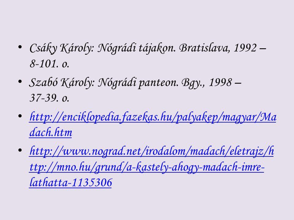 Csáky Károly: Nógrádi tájakon. Bratislava, 1992 – 8-101. o. Szabó Károly: Nógrádi panteon. Bgy., 1998 – 37-39. o. http://enciklopedia.fazekas.hu/palya