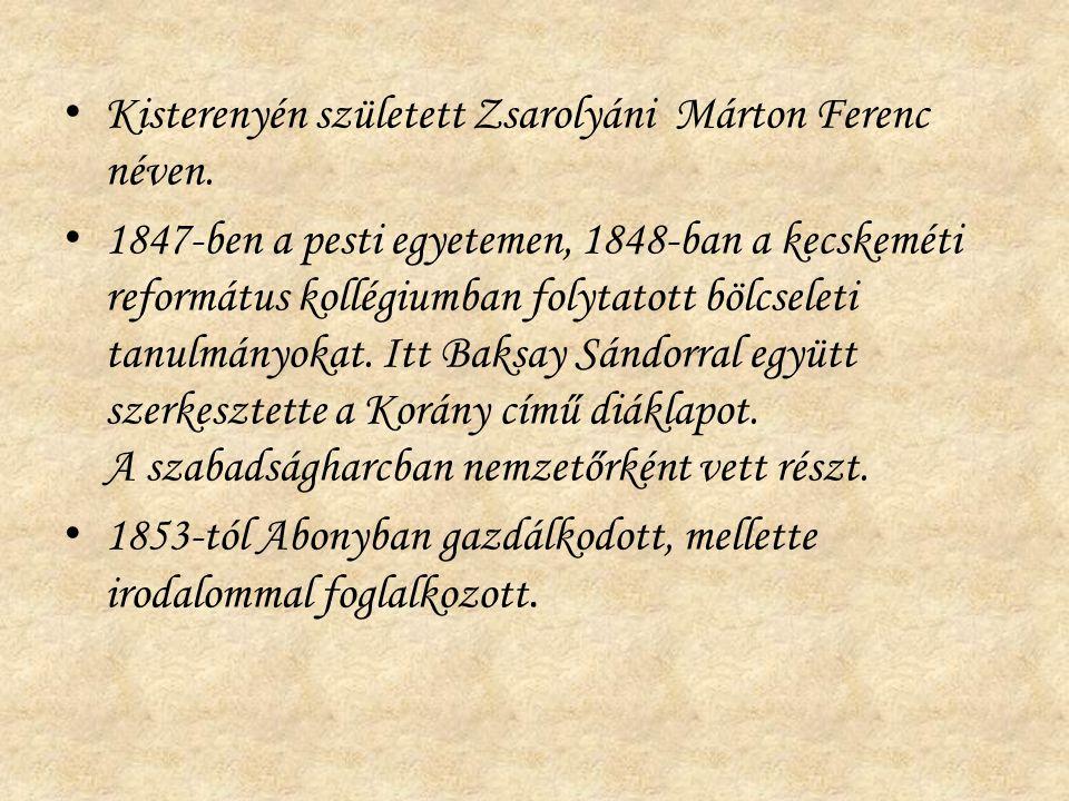 Kisterenyén született Zsarolyáni Márton Ferenc néven. 1847-ben a pesti egyetemen, 1848-ban a kecskeméti református kollégiumban folytatott bölcseleti