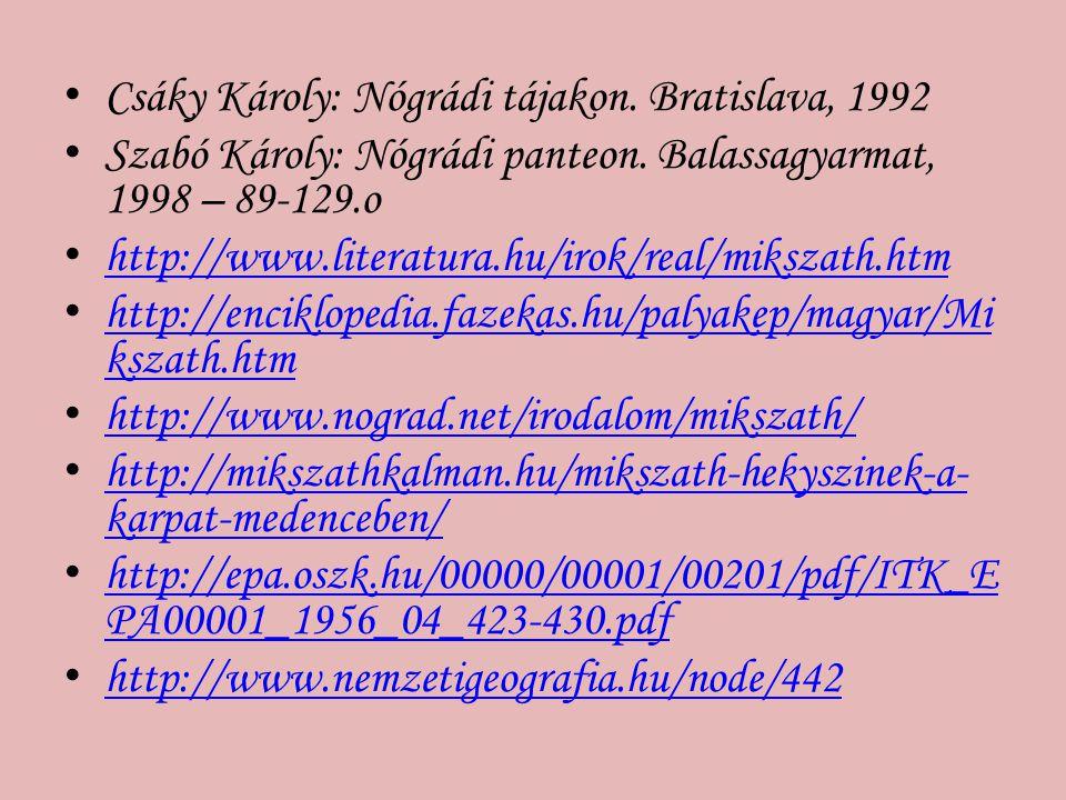 Csáky Károly: Nógrádi tájakon. Bratislava, 1992 Szabó Károly: Nógrádi panteon. Balassagyarmat, 1998 – 89-129.o http://www.literatura.hu/irok/real/miks