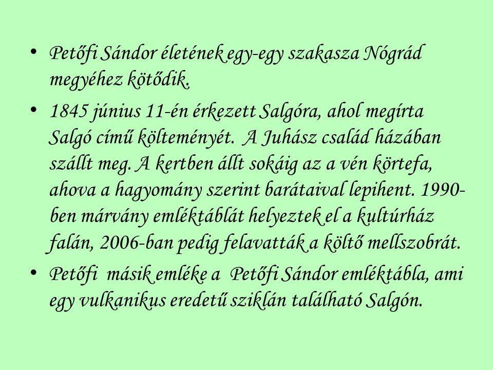 Petőfi Sándor életének egy-egy szakasza Nógrád megyéhez kötődik. 1845 június 11-én érkezett Salgóra, ahol megírta Salgó című költeményét. A Juhász csa