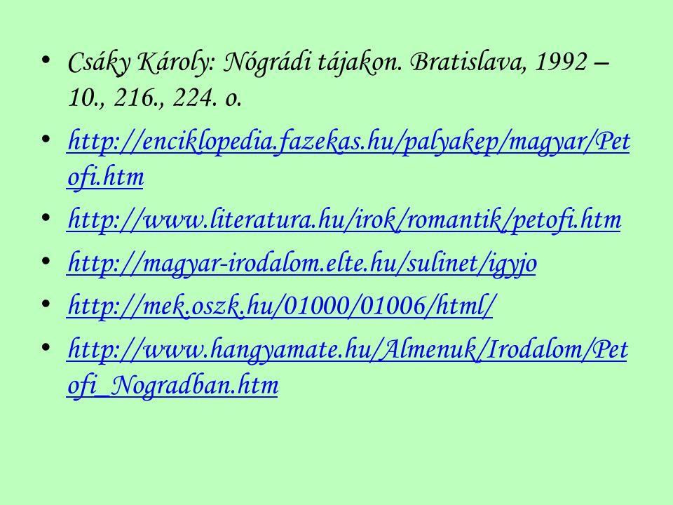 Csáky Károly: Nógrádi tájakon. Bratislava, 1992 – 10., 216., 224. o. http://enciklopedia.fazekas.hu/palyakep/magyar/Pet ofi.htm http://enciklopedia.fa