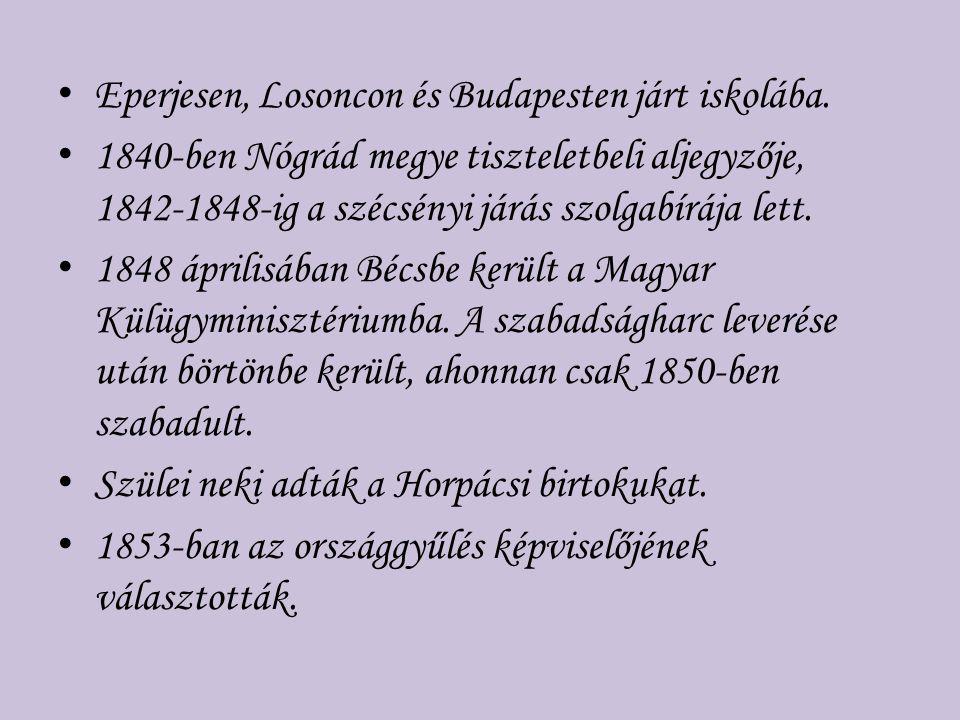 Eperjesen, Losoncon és Budapesten járt iskolába. 1840-ben Nógrád megye tiszteletbeli aljegyzője, 1842-1848-ig a szécsényi járás szolgabírája lett. 184