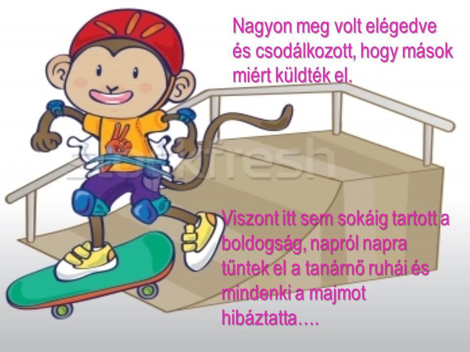 Viszont itt sem sokáig tartott a boldogság, napról napra tűntek el a tanárnő ruhái és mindenki a majmot hibáztatta….