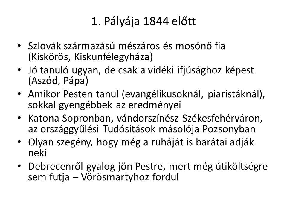 1. Pályája 1844 előtt Szlovák származású mészáros és mosónő fia (Kiskőrös, Kiskunfélegyháza) Jó tanuló ugyan, de csak a vidéki ifjúsághoz képest (Aszó