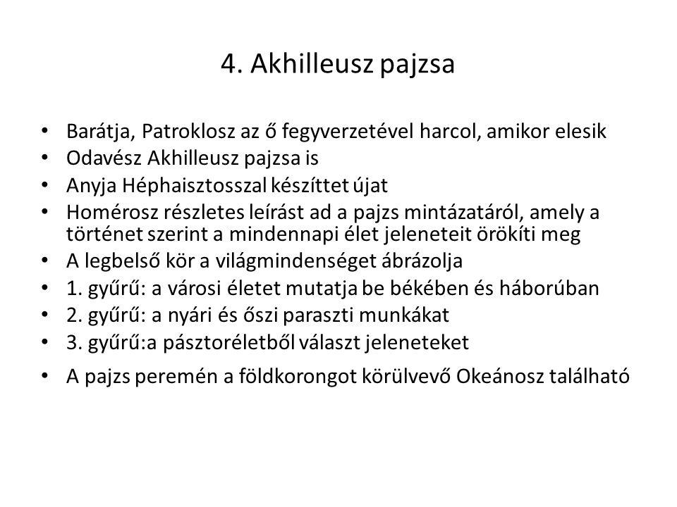 4. Akhilleusz pajzsa Barátja, Patroklosz az ő fegyverzetével harcol, amikor elesik Odavész Akhilleusz pajzsa is Anyja Héphaisztosszal készíttet újat H