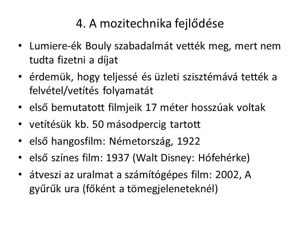 4. A mozitechnika fejlődése Lumiere-ék Bouly szabadalmát vették meg, mert nem tudta fizetni a díjat érdemük, hogy teljessé és üzleti szisztémává tetté