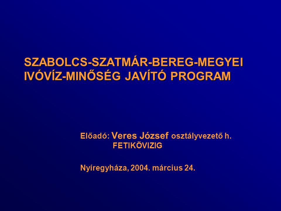 SZABOLCS-SZATMÁR-BEREG-MEGYEI IVÓVÍZ-MINŐSÉG JAVÍTÓ PROGRAM SZABOLCS-SZATMÁR-BEREG-MEGYEI IVÓVÍZ-MINŐSÉG JAVÍTÓ PROGRAM Előadó: Veres József osztályve
