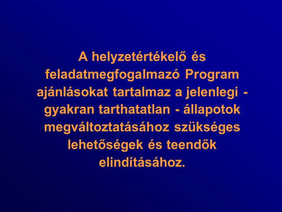 A helyzetértékelő és feladatmegfogalmazó Program ajánlásokat tartalmaz a jelenlegi - gyakran tarthatatlan - állapotok megváltoztatásához szükséges leh