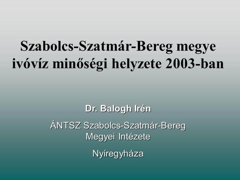 Szabolcs-Szatmár-Bereg megye ivóvíz minőségi helyzete 2003-ban Dr.