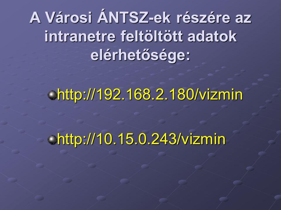 A Városi ÁNTSZ-ek részére az intranetre feltöltött adatok elérhetősége: http://192.168.2.180/vizminhttp://10.15.0.243/vizmin