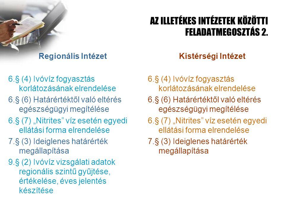AZ ILLETÉKES INTÉZETEK KÖZÖTTI FELADATMEGOSZTÁS 2.
