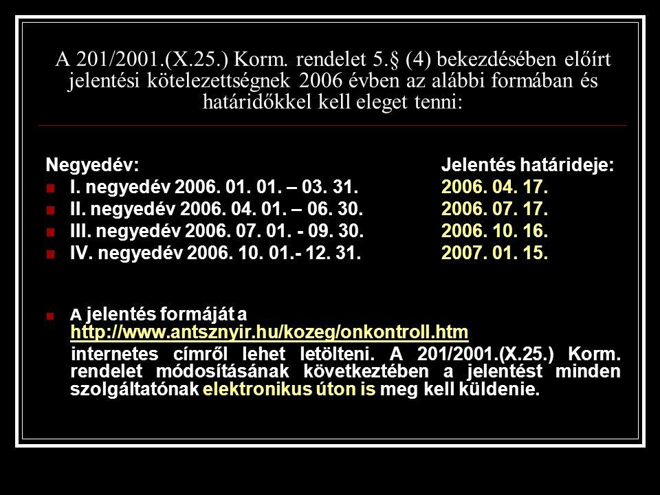 A 201/2001.(X.25.) Korm.