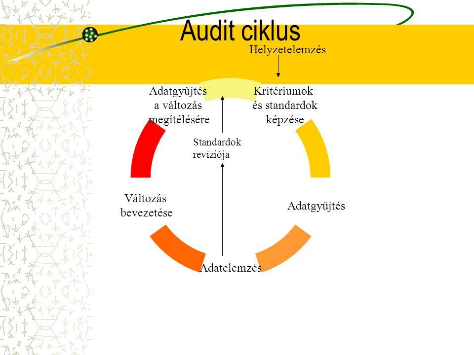 Audit ciklus Kritériumok és standardok képzése Adatgyűjtés Adatelemzés Változás bevezetése Adatgyűjtés a változás megítélésére Helyzetelemzés Standard