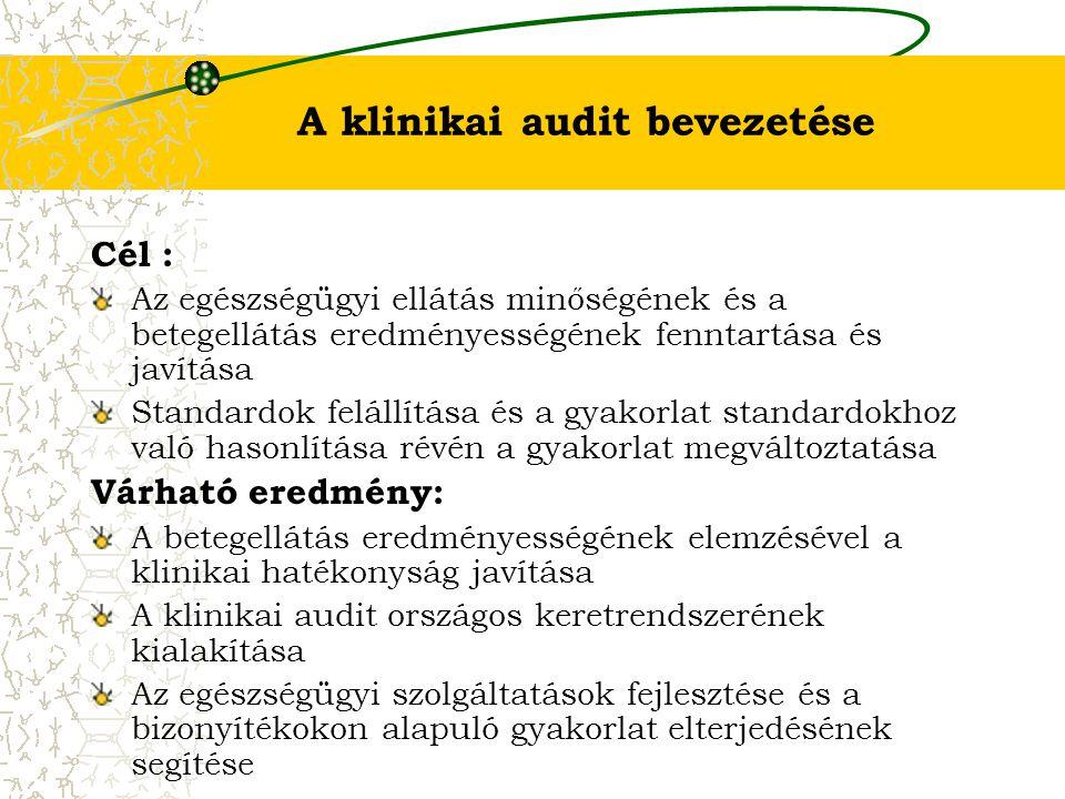 A klinikai audit bevezetése Cél : Az egészségügyi ellátás minőségének és a betegellátás eredményességének fenntartása és javítása Standardok felállítá