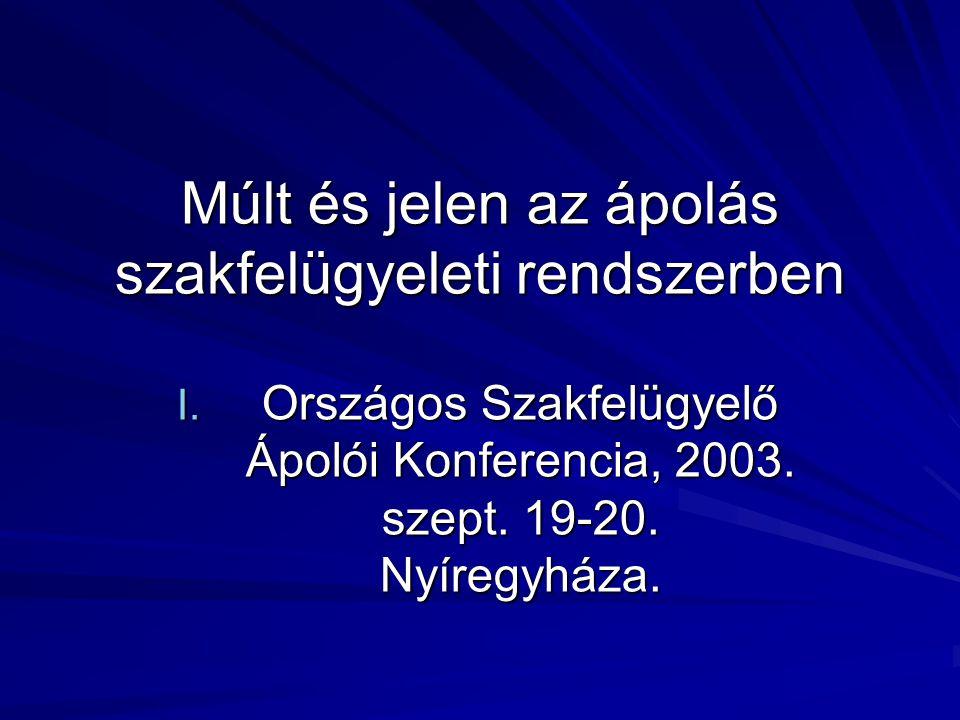 Múlt és jelen az ápolás szakfelügyeleti rendszerben I. Országos Szakfelügyelő Ápolói Konferencia, 2003. szept. 19-20. Nyíregyháza.