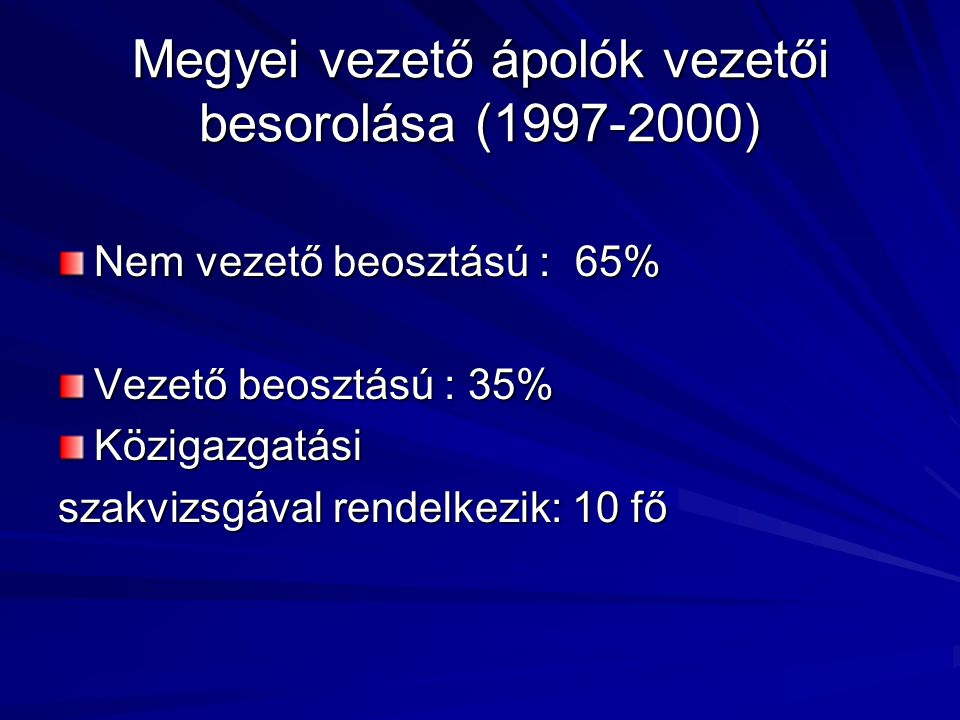 Megyei vezető ápolók vezetői besorolása (1997-2000) Nem vezető beosztású : 65% Vezető beosztású : 35% Közigazgatási szakvizsgával rendelkezik: 10 fő
