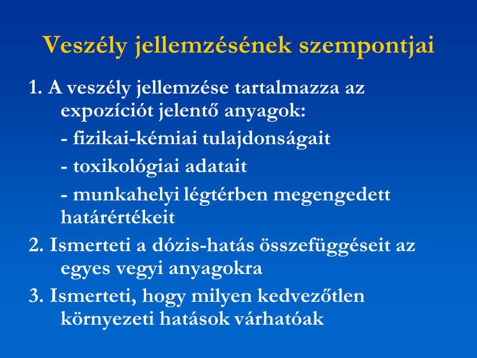 Veszély jellemzésének szempontjai 1. A veszély jellemzése tartalmazza az expozíciót jelentő anyagok: - fizikai-kémiai tulajdonságait - toxikológiai ad