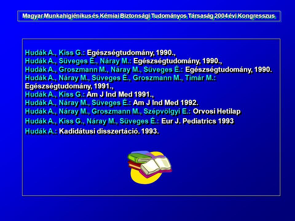 Hudák A., Kiss G.: Egészségtudomány, 1990., Hudák A., Süveges É., Náray M.: Egészségtudomány, 1990., Hudák A., Groszmann M., Náray M., Süveges É.: Egé