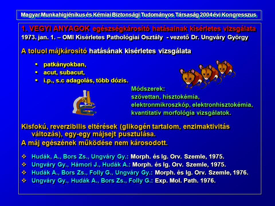 1. VEGYI ANYAGOK egészségkárosító hatásainak kísérletes vizsgálata 1973. jan. 1. – OMI Kisérletes Pathológiai Osztály - vezető Dr. Ungváry György A to