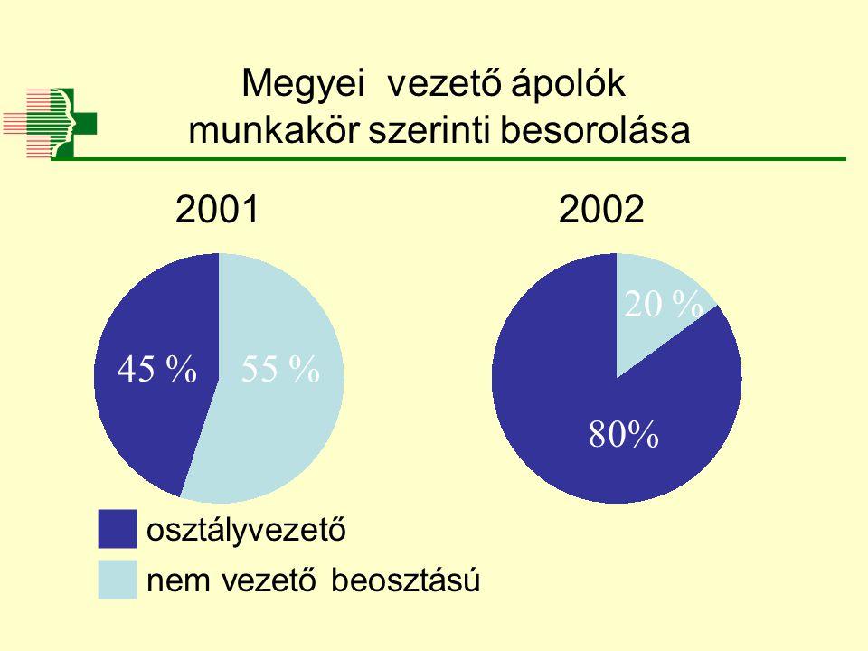 Megyei vezető ápolók munkakör szerinti besorolása 20 % 80% 55 %45 %  osztályvezető  nem vezető beosztású 20012002