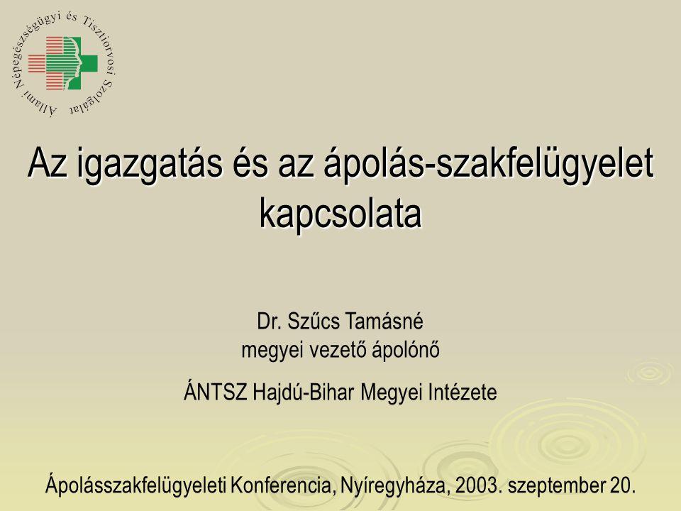 Az igazgatás és az ápolás-szakfelügyelet kapcsolata Ápolásszakfelügyeleti Konferencia, Nyíregyháza, 2003. szeptember 20. Dr. Szűcs Tamásné megyei veze