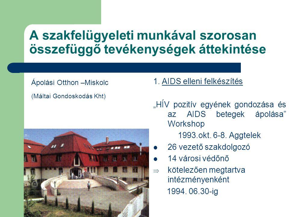 """A szakfelügyeleti munkával szorosan összefüggő tevékenységek áttekintése 1. AIDS elleni felkészítés """"HÍV pozitív egyének gondozása és az AIDS betegek"""