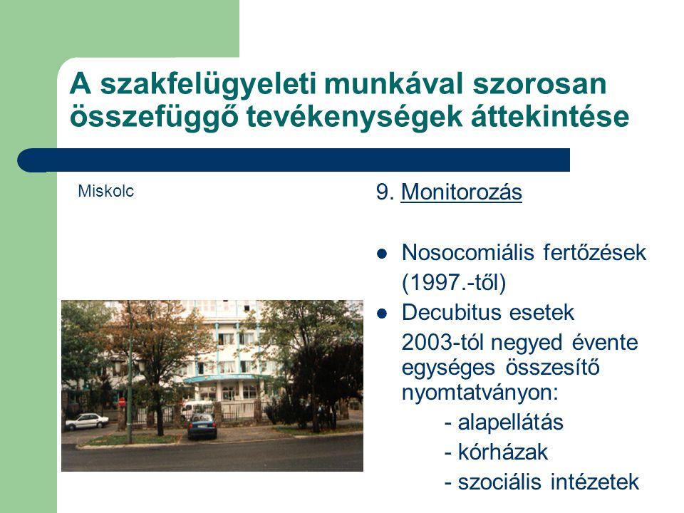 A szakfelügyeleti munkával szorosan összefüggő tevékenységek áttekintése 9. Monitorozás Nosocomiális fertőzések (1997.-től) Decubitus esetek 2003-tól