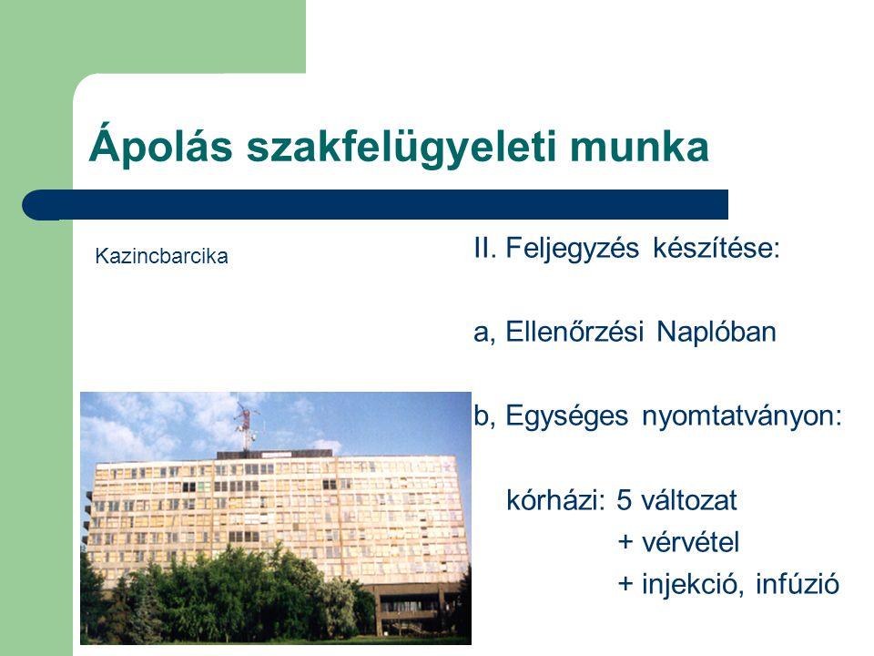 Ápolás szakfelügyeleti munka II. Feljegyzés készítése: a, Ellenőrzési Naplóban b, Egységes nyomtatványon: kórházi: 5 változat + vérvétel + injekció, i