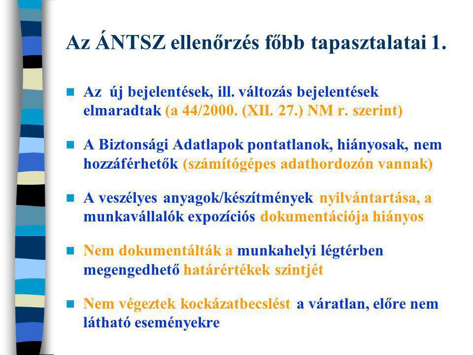 Az ÁNTSZ ellenőrzés főbb tapasztalatai 1. Az új bejelentések, ill. változás bejelentések elmaradtak (a 44/2000. (XII. 27.) NM r. szerint) A Biztonsági