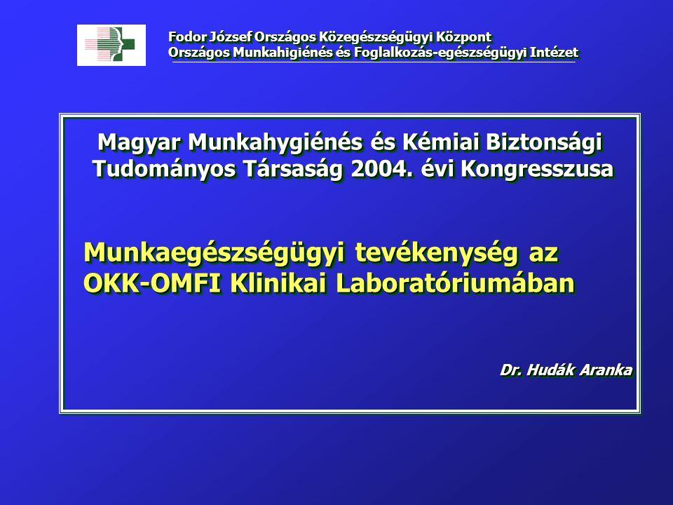 Magyar Munkahygiénés és Kémiai Biztonsági Tudományos Társaság 2004. évi Kongresszusa Tudományos Társaság 2004. évi Kongresszusa Munkaegészségügyi tevé