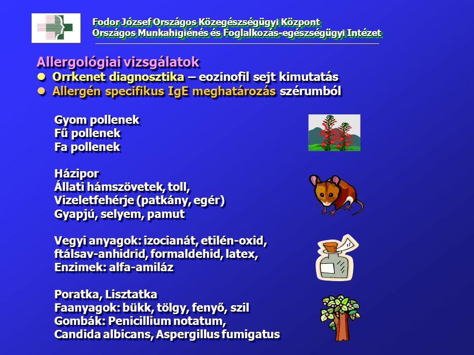 Allergológiai vizsgálatok Orrkenet diagnosztika – eozinofil sejt kimutatás Orrkenet diagnosztika – eozinofil sejt kimutatás Allergén specifikus IgE meghatározás szérumból Allergén specifikus IgE meghatározás szérumból Gyom pollenek Fű pollenek Fa pollenek Házipor Állati hámszövetek, toll, Vizeletfehérje (patkány, egér) Gyapjú, selyem, pamut Vegyi anyagok: izocianát, etilén-oxid, ftálsav-anhidrid, formaldehid, latex, Enzimek: alfa-amiláz Poratka, Lisztatka Faanyagok: bükk, tölgy, fenyő, szil Gombák: Penicillium notatum, Candida albicans, Aspergillus fumigatus Allergológiai vizsgálatok Orrkenet diagnosztika – eozinofil sejt kimutatás Orrkenet diagnosztika – eozinofil sejt kimutatás Allergén specifikus IgE meghatározás szérumból Allergén specifikus IgE meghatározás szérumból Gyom pollenek Fű pollenek Fa pollenek Házipor Állati hámszövetek, toll, Vizeletfehérje (patkány, egér) Gyapjú, selyem, pamut Vegyi anyagok: izocianát, etilén-oxid, ftálsav-anhidrid, formaldehid, latex, Enzimek: alfa-amiláz Poratka, Lisztatka Faanyagok: bükk, tölgy, fenyő, szil Gombák: Penicillium notatum, Candida albicans, Aspergillus fumigatus Fodor József Országos Közegészségügyi Központ Országos Munkahigiénés és Foglalkozás-egészségügyi Intézet