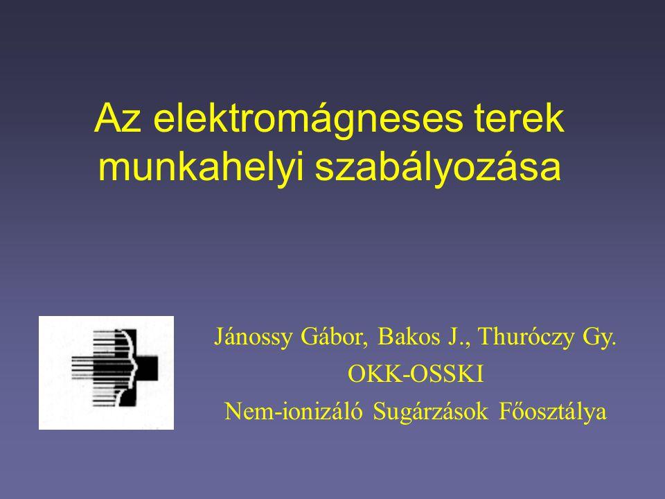 Az elektromágneses terek munkahelyi szabályozása Jánossy Gábor, Bakos J., Thuróczy Gy. OKK-OSSKI Nem-ionizáló Sugárzások Főosztálya