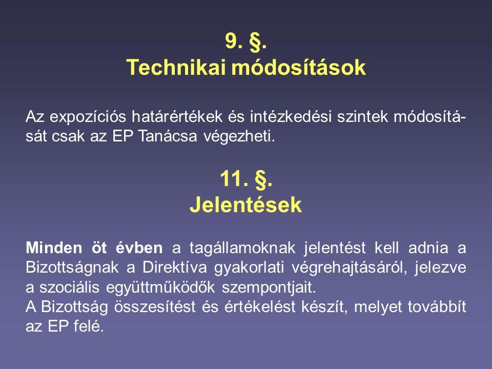 9. §. Technikai módosítások Az expozíciós határértékek és intézkedési szintek módosítá- sát csak az EP Tanácsa végezheti. 11. §. Jelentések Minden öt