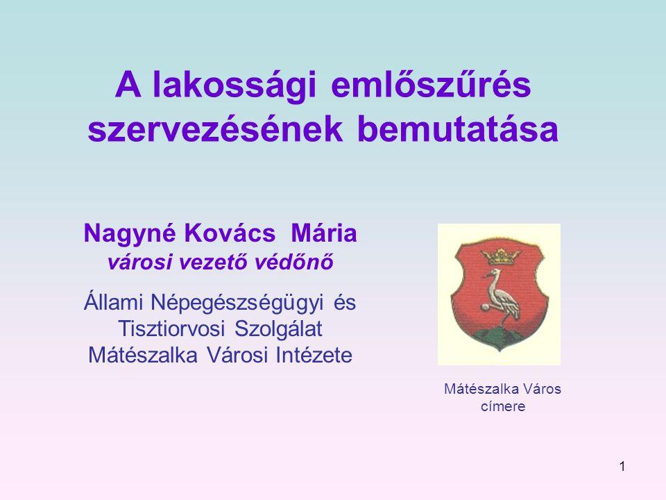 1 A lakossági emlőszűrés szervezésének bemutatása Nagyné Kovács Mária városi vezető védőnő Állami Népegészségügyi és Tisztiorvosi Szolgálat Mátészalka Városi Intézete Mátészalka Város címere