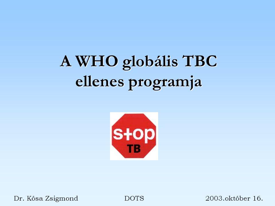 A WHO globális TBC ellenes programja Dr. Kósa Zsigmond DOTS 2003.október 16.