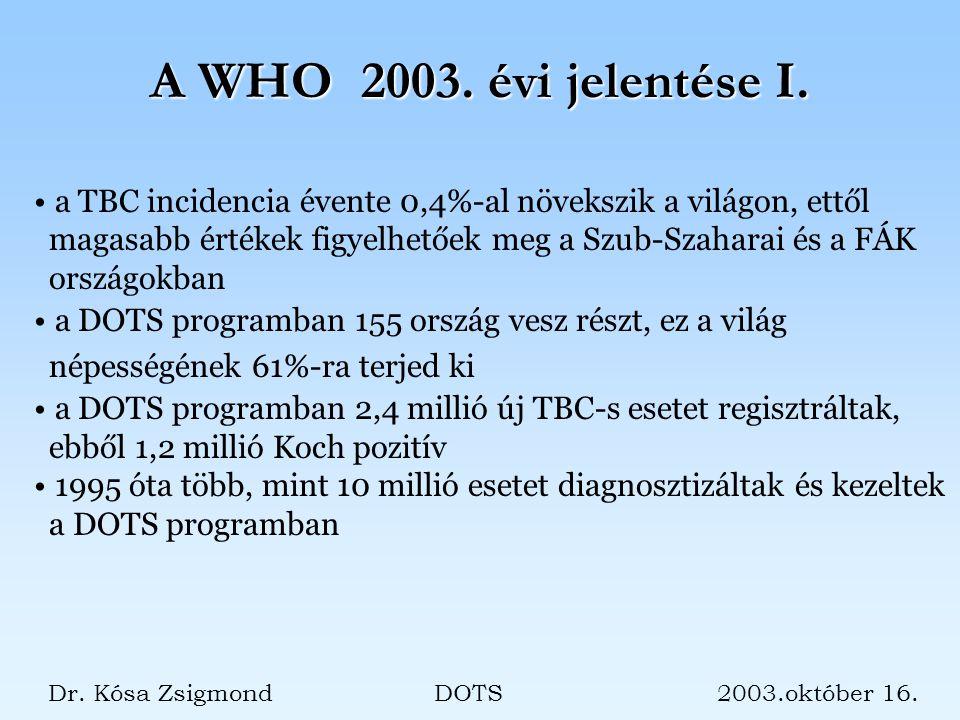 A WHO 2003. évi jelentése I. Dr. Kósa Zsigmond DOTS 2003.október 16.