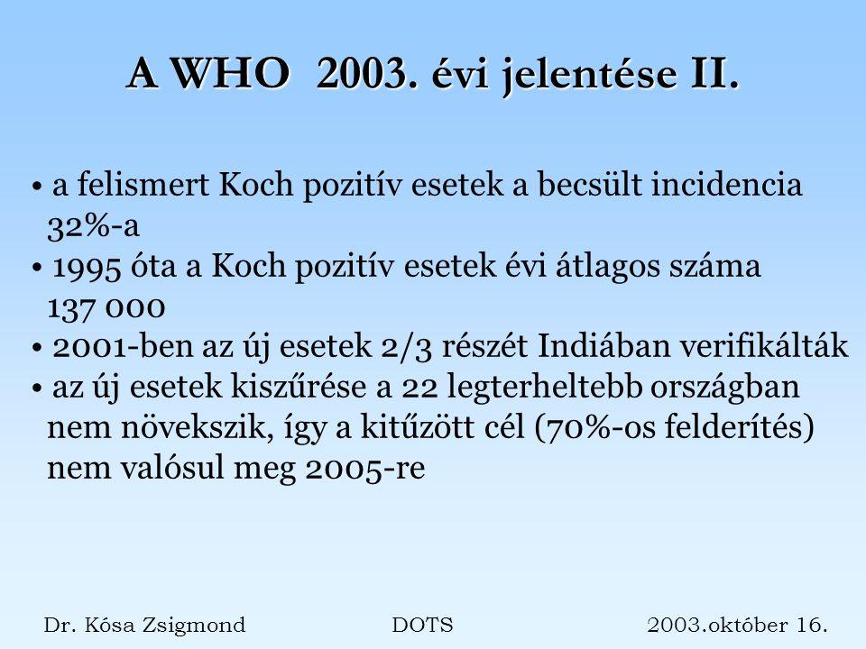 Dr. Kósa Zsigmond DOTS 2003.október 16. A WHO 2003.