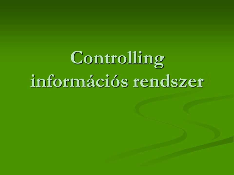 Controlling információs rendszer
