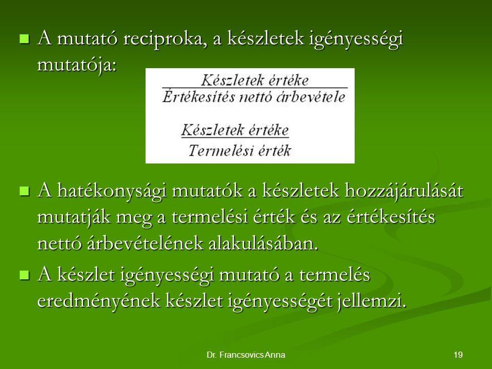 19Dr. Francsovics Anna A mutató reciproka, a készletek igényességi mutatója: A mutató reciproka, a készletek igényességi mutatója: A hatékonysági muta