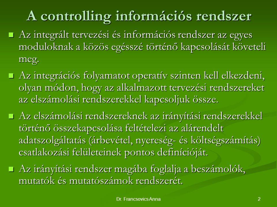 2Dr. Francsovics Anna A controlling információs rendszer Az integrált tervezési és információs rendszer az egyes moduloknak a közös egésszé történő ka