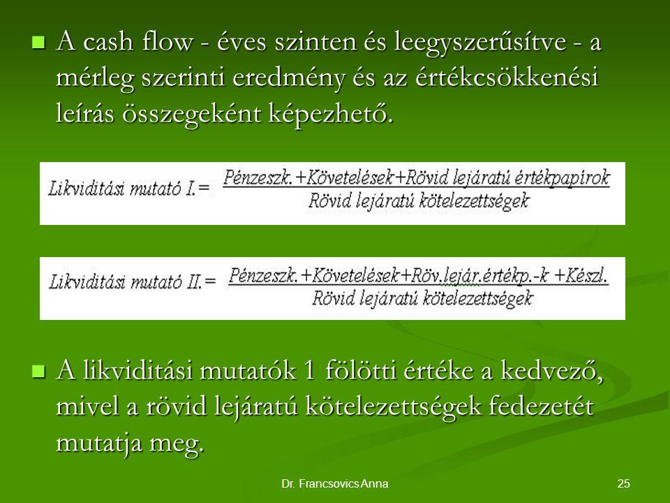 25Dr. Francsovics Anna A cash flow - éves szinten és leegyszerűsítve - a mérleg szerinti eredmény és az értékcsökkenési leírás összegeként képezhető.