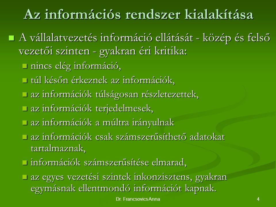 4Dr. Francsovics Anna Az információs rendszer kialakítása A vállalatvezetés információ ellátását - közép és felső vezetői szinten - gyakran éri kritik