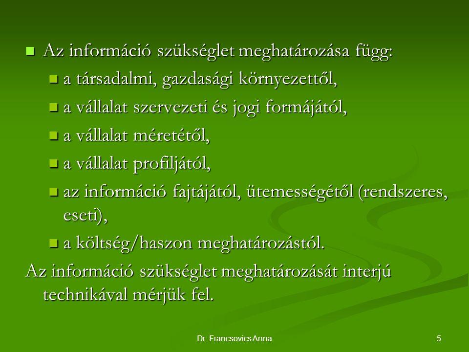 5Dr. Francsovics Anna Az információ szükséglet meghatározása függ: Az információ szükséglet meghatározása függ: a társadalmi, gazdasági környezettől,