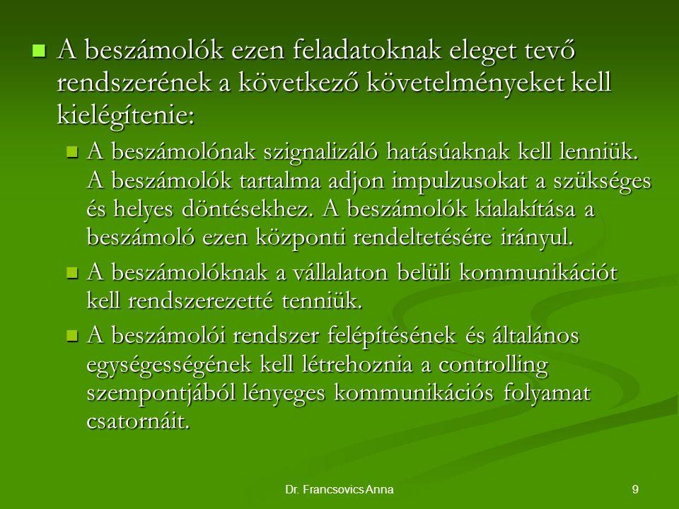 9Dr. Francsovics Anna A beszámolók ezen feladatoknak eleget tevő rendszerének a következő követelményeket kell kielégítenie: A beszámolók ezen feladat