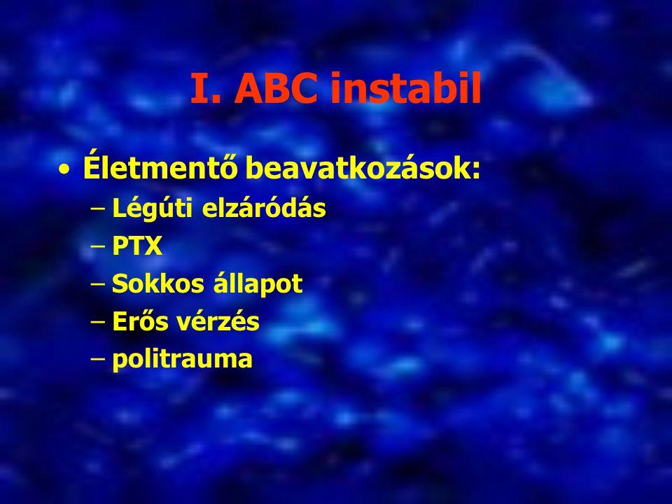 I. ABC instabil Életmentő beavatkozások: –Légúti elzáródás –PTX –Sokkos állapot –Erős vérzés –politrauma