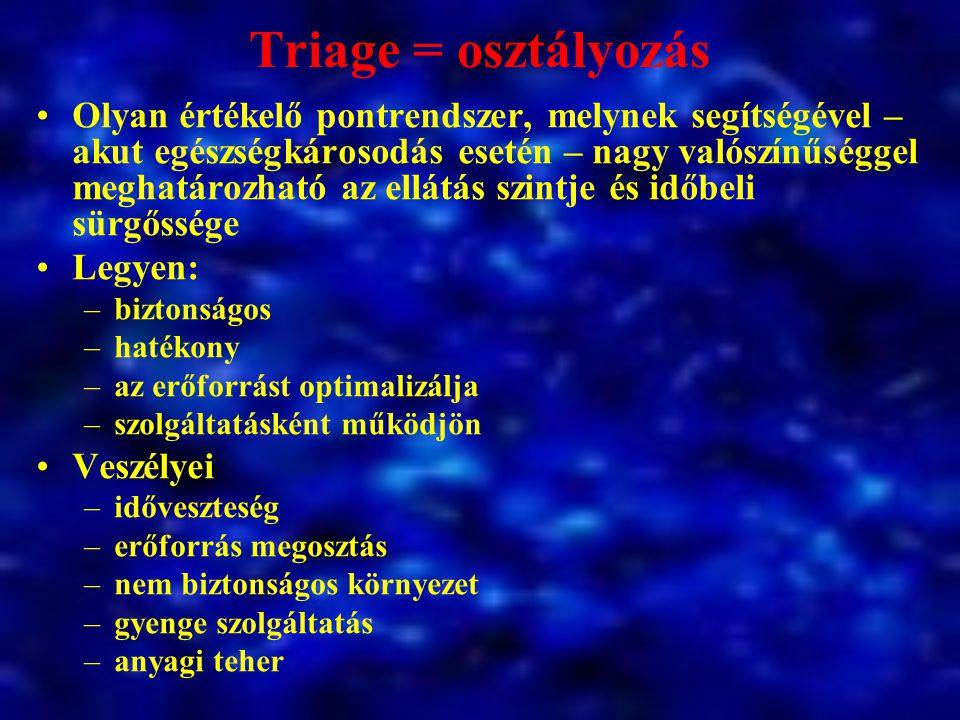 Triage = osztályozás Olyan értékelő pontrendszer, melynek segítségével – akut egészségkárosodás esetén – nagy valószínűséggel meghatározható az ellátá