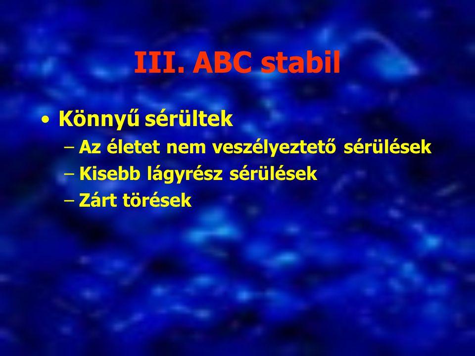 III. ABC stabil Könnyű sérültek –Az életet nem veszélyeztető sérülések –Kisebb lágyrész sérülések –Zárt törések