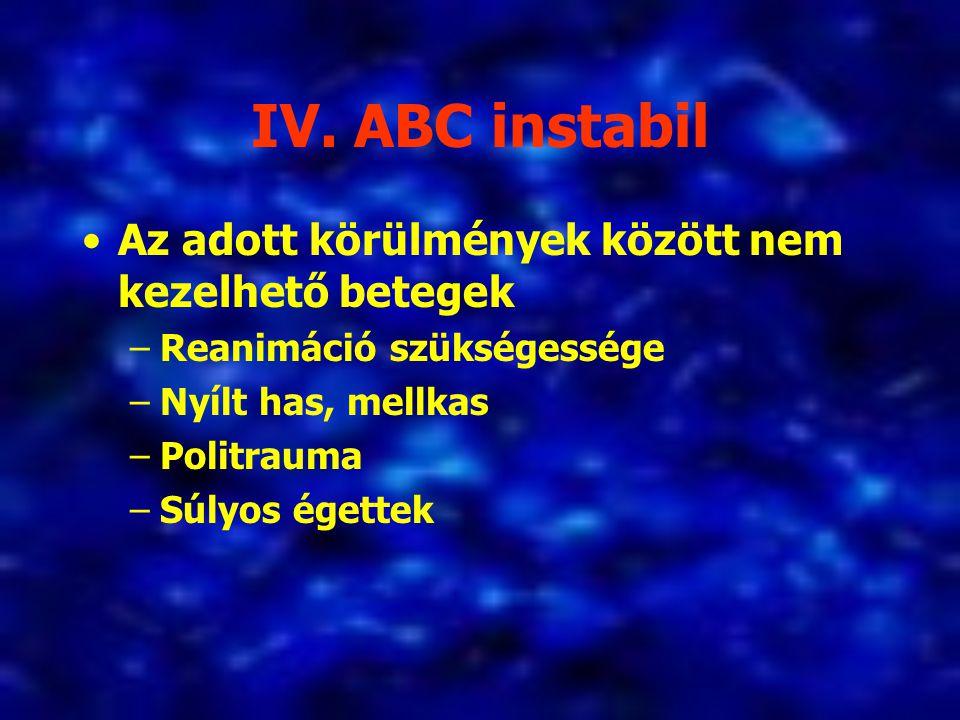 IV. ABC instabil Az adott körülmények között nem kezelhető betegek –Reanimáció szükségessége –Nyílt has, mellkas –Politrauma –Súlyos égettek