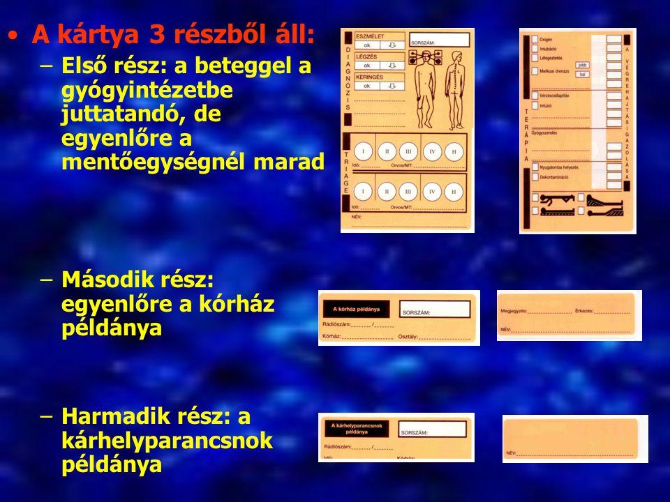 A kártya 3 részből áll: –Első rész: a beteggel a gyógyintézetbe juttatandó, de egyenlőre a mentőegységnél marad –Második rész: egyenlőre a kórház példánya –Harmadik rész: a kárhelyparancsnok példánya